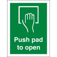 Push Pad To Open Signs