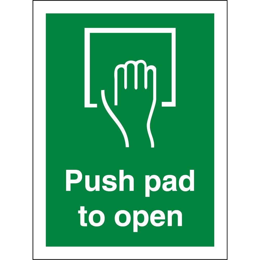 push pad to open signs from key signs uk. Black Bedroom Furniture Sets. Home Design Ideas