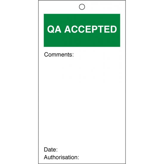 QA Accepted Quality Control Tags 80mm x 150mm Pack of 10