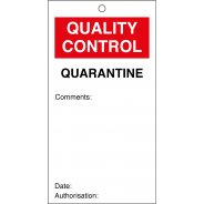 Quarantine Quality Control Tags 80mm x 150mm Pack of 10