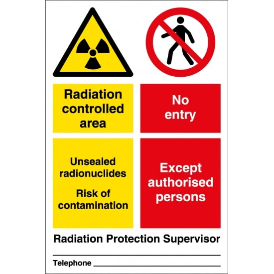 Radiation Area Risk Of Contamination Signs