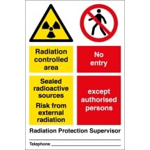 Radiation Controlled Area No Entry Signs