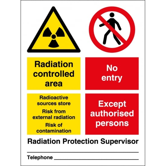 Radiation Controlled Area Radioactive Sources Store Signs