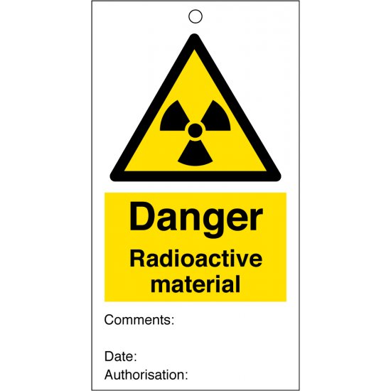 Radioactive Material Safety Tags 80mm x 150mm Pack of 10