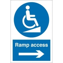Ramp Access Arrow Right Signs
