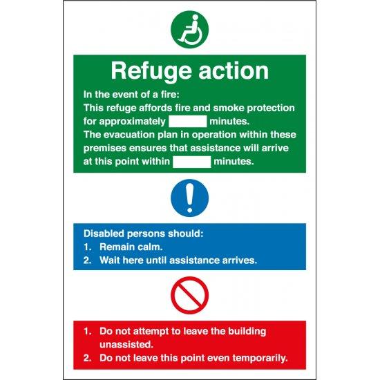 Refuge Fire Action Signs