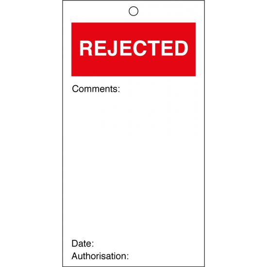 Rejected Quality Control Tags 80mm x 150mm Pack of 10