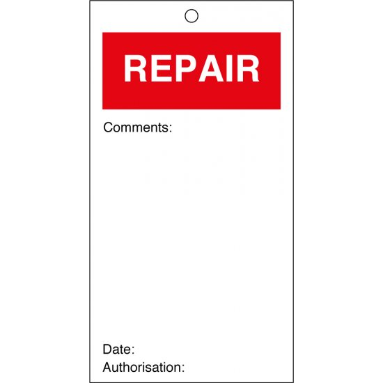Repair Quality Control Tags 80mm x 150mm Pack of 10