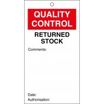 Returned Stock Quality Control Tags 80mm x 150mm Pack of 10