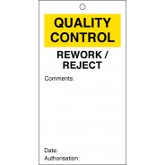 Rework / Reject Quality Control Tags 80mm x 150mm Pack of 10