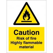 Risk Of Fire Highly Flammable Material Signs