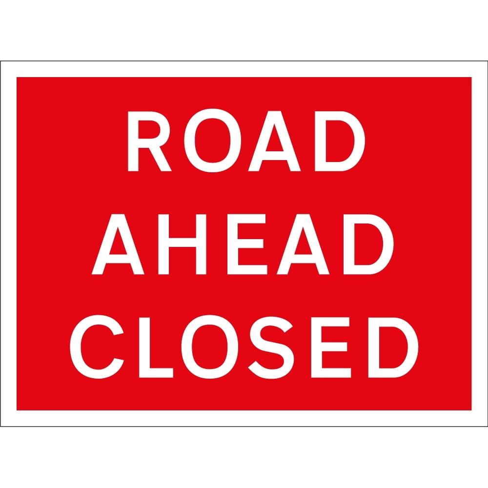 Road ahead closed signs from key uk