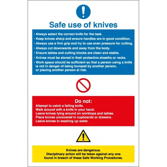 Safe Use Of Knives Signs