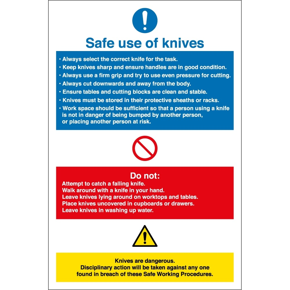 Safe Use Of Knives Signs - from Key Signs UK