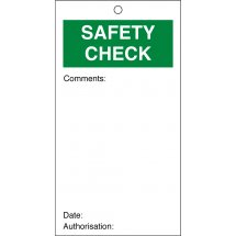 Safety Check Quality Control Tags 80mm x 150mm Pack of 10