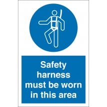 Safety Harness Must Be Worn In This Area Signs