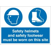 Safety Helmets And Footwear Must Be Worn Signs