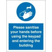 Sanitise Your Hands Before Using Keypad Signs
