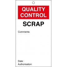 Scrap Quality Control Tags 80mm x 150mm Pack of 10