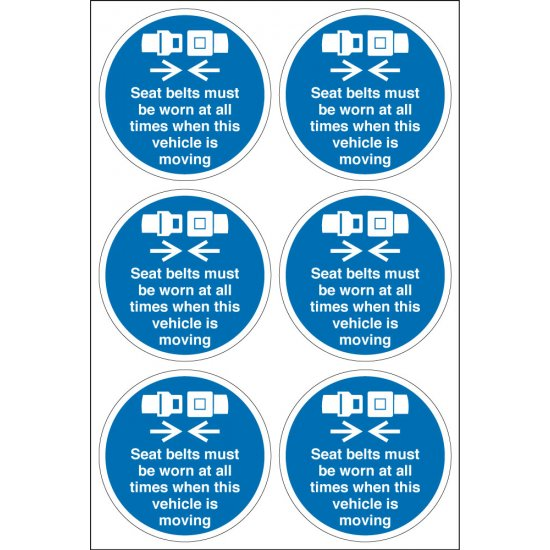 Seat Belts Must Be Worn Labels 65mm diameter