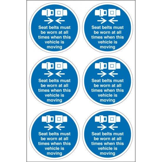 Seat Belts Must Be Worn Labels 65mm diameter