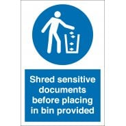 Shred Sensitive Documents Before Placing in Bin Signs