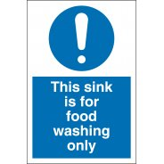 Sink For Food Washing Only Signs
