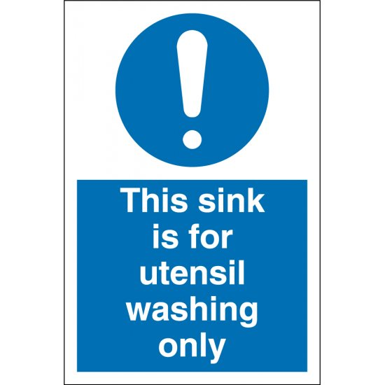 Sink For Utensil Washing Only Signs