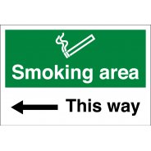 Smoking Area Arrow Left Signs