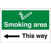 Smoking Area Arrow Left Signs