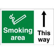 Smoking Area Arrow Up Signs
