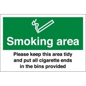 Smoking Area Keep Tidy Signs