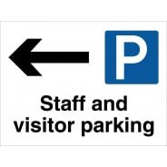 Staff And Visitor Parking Arrow Left Signs