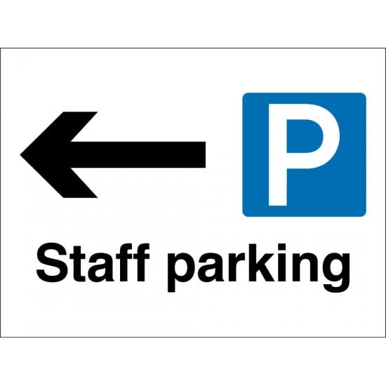 Staff Parking Arrow Left Signs
