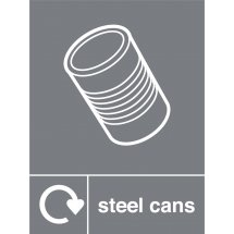 Steel Cans Waste Recycling Signs