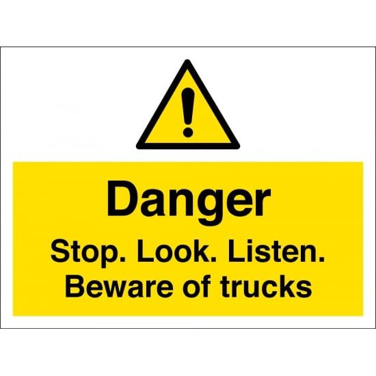 Stop Look Listen Beware Of Trucks Signs