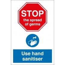 Stop The Spread Of Germs Use Hand Sanitiser Signs