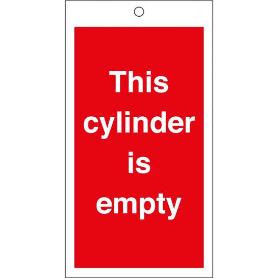 This Cylinder Is Empty Safety Tags 80mm x 150mm Pack of 10