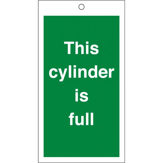 This Cylinder Is Full Safety Tags 80mm x 150mm Pack of 10