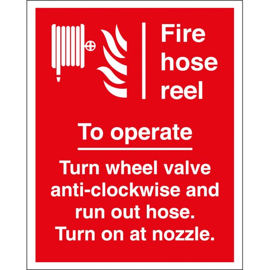 To Operate Fire Hose Reel Signs
