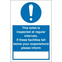 Toilet Inspected At Regular Intervals Signs
