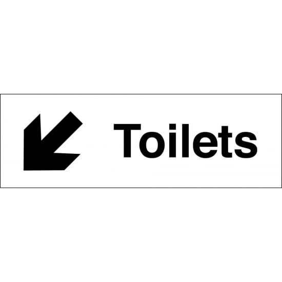Toilets Arrow Down Left Signs
