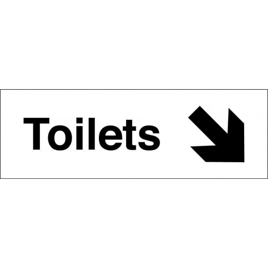 Toilets Arrow Down Right Signs