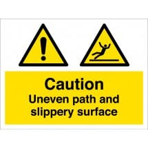 Uneven Path And Slippery Surface Signs