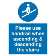 Use Handrail On Stairs Signs