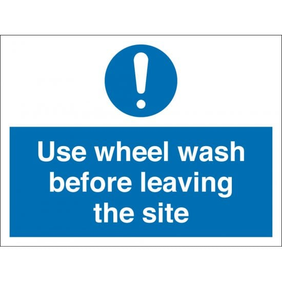 Use Wheel Wash Before Leaving The Site Signs