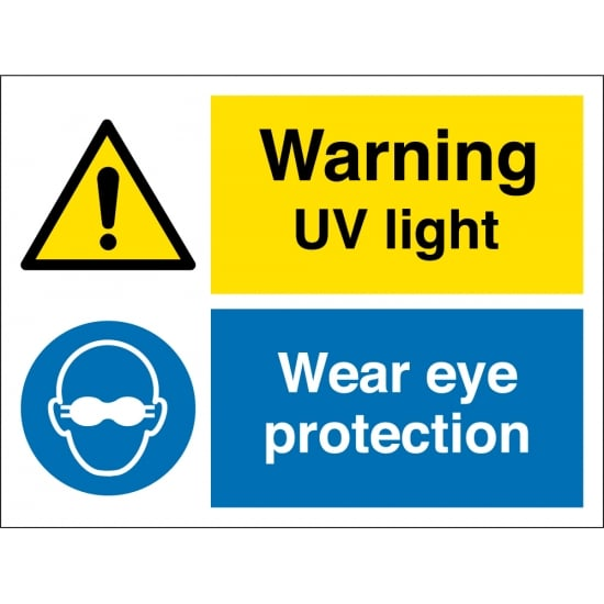 UV Light Wear Eye Protection Signs