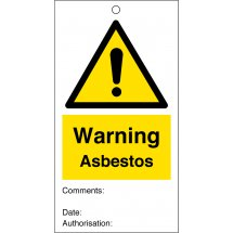Warning Asbestos Safety Tags 80mm x 150mm Pack of 10