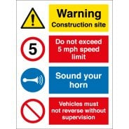 Warning Construction Site 5mph Site Speed Limit Signs