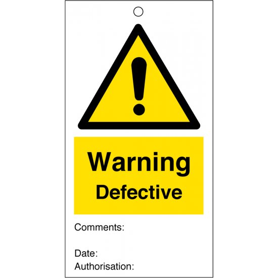 Warning Defective Safety Tags 80mm x 150mm Pack of 10